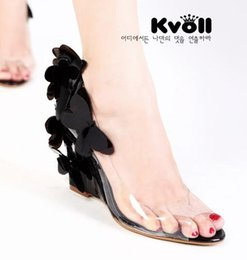 Wholesale Butterfly Mouth - Butterfly transparent resin wedge sandals shoes sexy female Kvoll fish mouth glass slipper high heel shoes