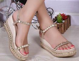 Wholesale Straw Gold - New women sandal shoes 2016 summer shoes fashion sandals rivet straw braid wedges shoes woman platform sandalsNew women sandal shoes 2016 su