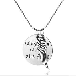 Wholesale Bird Wings - vintage silver plated alloy Bird Angel wings necklace round card Lettering dual Double pendant eagle hawk dove wing necklace boy 2017 x219