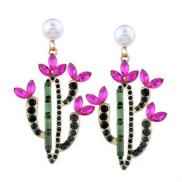 Wholesale Vintage Pink Earrings - Imitation pearls Flower Drop Earring Fashion Party Gift Vintage Ethnic Bohemia Bead Rhinestones Crystal Dangle Earrings for Women Jewelry