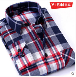 Wholesale finish clear - Wholesale-2016 New Autumn winter Plaid shirts high quality thick long sleeve peached finished flannel casual men shirt 4xl male clothes