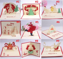 Wholesale Handmade Souvenirs - Nice Christmas Cards 3D Pop Up Merry Christmas Series Santa's Handmade Custom Greeting Cards Christmas Gifts Souvenirs Postcards