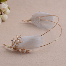 Wholesale Tiaras Coral - golden coral pearl beads white feather fairy wood sea theme tiaras hair decoration party costume accessory ballet stage princess headwear
