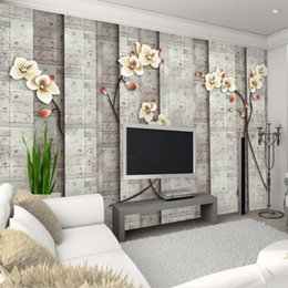 Wholesale Vintage Furnishings - Custom TV background wallpapers modern Chinese furnishings living room bedroom study classical lotus wallpaper wallpaper mural