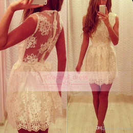 Wholesale Homecoming Sweet Sixteen Dress - Hot Cheap Lace Sheer Homecoming Dresses Modern Short Crew Neck Appliques Backless Mini A Line Party Sweet Sixteen Graduation Prom Gown BA079
