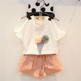 Wholesale Baby Kids Clothing Trousers - Kids Sets Baby Girls Summer Toddler Infant Cotton Short Sleeve T-Shirt Shorts Short Trousers Pants Set Two Piece Suit Baby Clothes 072