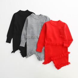 Wholesale Korean Casual Formal Dressing - Baby Kids Girls Dress 2017 New Autumn Winter Knitting Tassels Dress Korean Fashion Long Sleeve Princess Dress