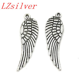 Wholesale Angels Charms - Hot ! 200pcs Antique silver Alloy Angel Wing Charms Pendants 9.5x30mm DIY Jewelry