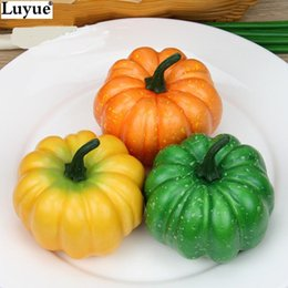 Wholesale Artificial Pumpkins - High quality Foam Fruit model artificial big pumpkin diameter 8.7cm props toy for sale 5 styles artificial pumpkin