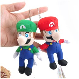 Wholesale Mario Accessories Wholesale - Fashion Super Mario Plush toys keychain Pendant Mario Stuffed Animals keyring 10cm 4 inches free shipping