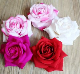Wholesale Velvet Diy - Velvet Rose Flower Heads 10.5cm Artificial Flowers Curling Roses Camellia for DIY Bridal Bouquet Wrist Flower Accessories
