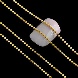 Wholesale Nail Art Bead Chain - Wholesale- Long 3M Metal Glitter Strip Tape Silver Gold 1MM Ball Beads Chain Nail Decorations Silver Gold 3D Nail Art Design Tip