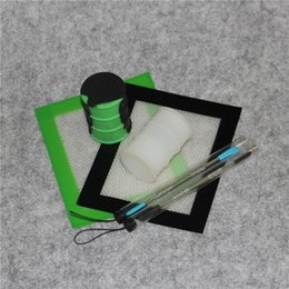 Wholesale Food Drums - Silicone Wax Kit Set with 14cm*11.5cm square sheets pads mats 26ml silicon drum container long sliver dabber tool for dry herb