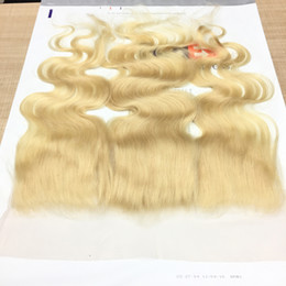 Wholesale Brazilian 613 Closure - 7A Straight blonde Ear To Ear Lace Closure Body wave Hair Closures 13x4 Brazilian Virgin Hair Swiss Lace Closure Piece #613 Bleached Knots