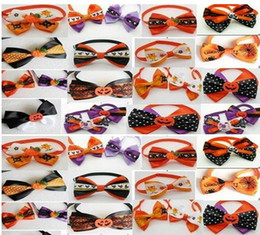 Wholesale Dog Christmas Tie - 50pc lot Halloween Christmas Holiday Pet Puppy Dog Cat Bow Ties Cute Neckties Collar Accessories Grooming Supplies P86