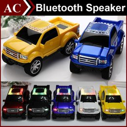 Wholesale Card Shaped Speaker - Truck Car Shape Model Mini Wireless Bluetooth Speaker Portable Subwoofer LED Flash Light USB TF Card Stereo FM Radio MP3 Music Player DHL
