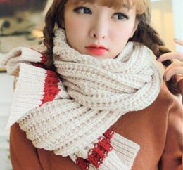 Wholesale Cheap Winter Wool Scarves - New recommend women autumn and winter knitting white scarfs designer lengthened stripes warm wool cheap scarves brands for women wholesale