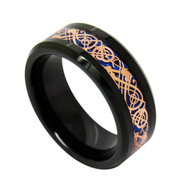 Wholesale Background Size - 8mm Blue background Rose Gold Dragon inlay Tungsten Carbide Ring fashion jewelry finger ring for men Thanksgiving Day's Gift for Dad