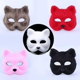 Wholesale Christmas Hairy - Halloween masquerade party masks animal man and woman half face mask hairy sexy fox mask DH12