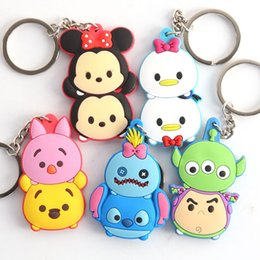 Wholesale Minnie Men - 5 Style Lilo & Stitch Mickey Minnie Mouse PVC Animals Action figure Keychain Pendants Toy 5-6CM
