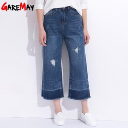 Wholesale Jeans Loose Legs For Women - Hole Pants Loose Jeans Distressed Jeans Femme Wide Leg Denim Capri With High Waist Tassel Ripped Jeans For Women GAREMAY 1612