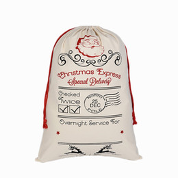 Wholesale Personalized Gift Paper - Aiyahoo Large Red Drawstring Cotton Christmas Bag with Deer Pattern Personalized Santa Sack Gift Bag Storage Candy Bags Santa Claus Pattern