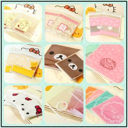 Wholesale Disposable Gift Bags - Wholesale- 100 pcs Lovely lace bow Print Gifts Bags Christmas Cookie packaging self-adhesive plastic bags for biscuits Candy Cake package