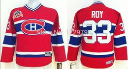 Wholesale Youth Pats Jersey - Newest Fashion!!!Youth Montreal Canadiens Hockey Jerseys #33 Patrick Roy Jersey Home Red Cheap Throwback Vintage V-neck kids Pat