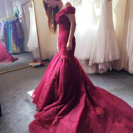 Wholesale Gowns For Ladies - Burgundy Plus Size Mermaid Evening Dress Off The Shoulder Robe De Mariee Custom Made Lace Bridal Gowns For Fat Ladies