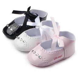 Wholesale Baby Diamond Shoe - Wholesale Autumn toddler shoes!0-18 M Sweet princess leather shoes,non-slip kids shoes,Hollow Ribbon diamond baby shoes.6pairs 12pcs.ZH