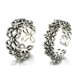 Wholesale Open Clover - Vintage Style Thai Silver Clover Flower Pattern Ring Opening Adjustable 925 Sterling Silver Unisex Rings