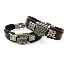 Wholesale Leather Cuff Bracelets For Women - Mens Fashion ROUTE 66 Rivet Charm Bracelets Punk Retro Multilayer Leather Bracelets For Men Women Customize Cuff Bangles Jewelry Gifts