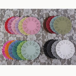 "Wholesale Blue Doilies - 4.5""Mixed Colors Lace Paper Doilies Placemats for Wedding Festival Event&Party Decoration Supplies Paper Scrapbooking Crafts"