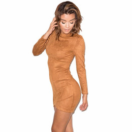 Wholesale Club Dress Slimming Sexy - 2016 Long Sleeve Slim Party Dress Sexy Club Brown Vestido Women Winter Dresses Kylie Jenner Skin Tight Faux Suede Bodycon Dress