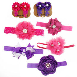 Wholesale Big Satin Flower Hair - Baby Headband and Hair Clip Set Matching Triple Shabby Flower Bow Big Satin Flower Pearl Small Satin Flower Hair Clip Nylon Hair Band