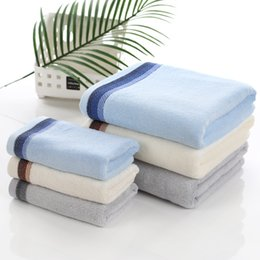 Wholesale Blue Bamboo Towels - Free Shipping Bamboo Fiber Towel Factory Direct Blue Gray Beige Ribbed Bamboo Fiber Bath Towel 70 * 140 HY1239