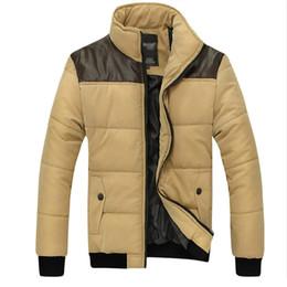 Wholesale Men S Leather Thick - Fall-2016 Fashion Men Down Jacket Leather Shoulder Patchwork Winter Jacket Men Stand Neck Men Winter Coat Plus Size M-5XL Parka Men
