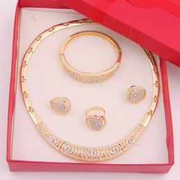 Wholesale Cheap Bridal Costume Jewelry - 2016 Cheap Luxury Fashion necklace ring bracelet set 18k Gold Silver Plated African Women Wedding Bridal Costume Jewelry Sets