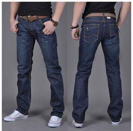 Wholesale medium length coats - Wholesale-New Arrival Men Casual Straight Jeans High Quality Full Length men jeans fashion cotton comfortable denim jeans