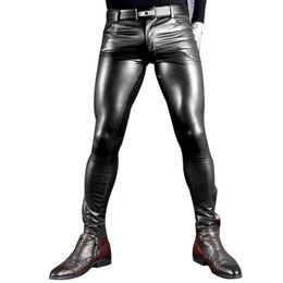 Wholesale Leather Pants Beige - Wholesale- Sexy Men Faux Leather Pu Matte Shiny Fashion Pants Role Men X Soft Skinny Gay Pants Zipper Open Pencil Pants Gay Wear FX130