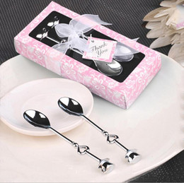 Wholesale Tea Set Stainless - Sweet Love Drink Tea Coffee Spoon Bridal Shower Heart Shaped Stainless Steel Spoon Wedding Party Favor Gift 2pcs set OOA2438