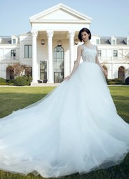 Wholesale Diamante Bridal Sashes - 2016 Gorgeous Lace A Line Wedding Dresses Crystal Lace Starps Illusion Bodice Bridal Gowns Layered Train Sheer Skirts Diamante Wedding Gowns