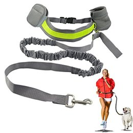 Wholesale Dog Lead Hands - Elastic Belt Running Dog Leash Lead Sports Jogging Walking Pet Collar Rope Hand Free Waist Dog Leash Set Free Shipping