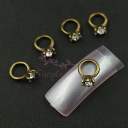 Wholesale Alloy 3d Style Rings - Wholesale 100pcs lot Antique Bronze Ring Style Clear Rhinestones Alloy Metal 3D Craft Nail Art Salon Acrylic UV Gel Tips Decor