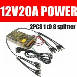 Wholesale Cctv Power Box 12v - NEW AC110-220V to 12V DC 20A 240W Switching Power Supply Box for 16PCS CCTV Cameras with 2 PCS 1 in & 8 out splitter cable