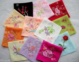 Wholesale Handmade Embroidered Handkerchiefs - wholesale 10pcs Chinese Stylish Handmade Colorful Embroidered Silk Handkerchief