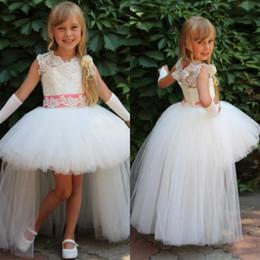Wholesale High Low Diamond Wedding Dress - 2017 Lovely Diamond Flower Girls Dresses Lace Girls Pageant Dresses Princess Ball Gown High Low Kids Weddings Dresses