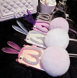Wholesale Decorations For Phone Cases - Stuffed Toys Folding Rabbit Ears Kickstand Phone Cases Rhinestines Diamonds Decoration Back Cover with Rex Rabbit Tail Fur Ball Phone Case