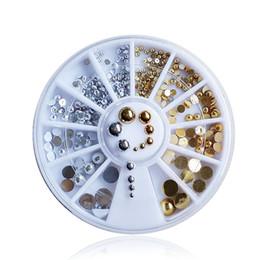 Wholesale Metal Charm Nail Art - latest Japanese wheel charms nail art gold silver metal beads mix sizes