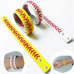 красные браслеты Скидка Кожа бейсбол или софтбол браслет с красной прострочкой и застежкой Бейсбол кожаный браслет CCA7006 100шт